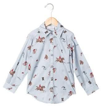 Rachel Riley Boys' Equestrian Print Button-Up Shirt