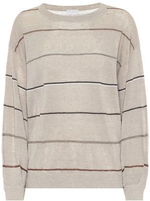 Brunello Cucinelli Striped linen-blend sweater