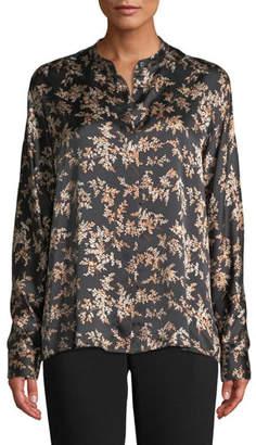 Vince Eden Leaf-Print Button-Front Silk Top