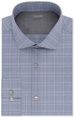 Calvin Klein X Men Extra-Slim Fit Temperature Regulating Stretch Blue Plaid Dress Shirt