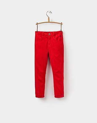 Joe Cord Boys Trousers with Button Fly Fastening in Cotton Mix in Red