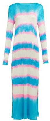 The Elder Statesman Raya Striped Knitted Silk Dress - Womens - Blue Multi