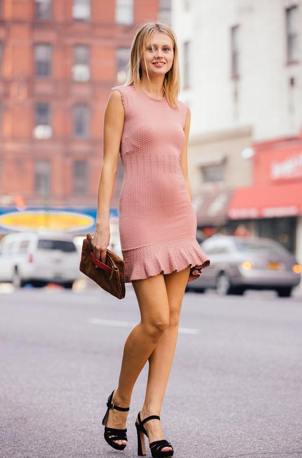 Torn By Ronny Kobo Knit Peplum Dress