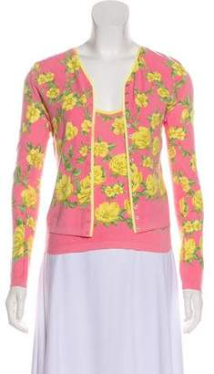 Blumarine Floral Button-Up Cardigan Set