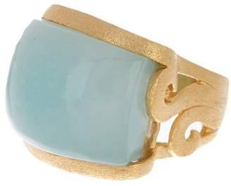 Rivka Friedman East-West Caribbean Blue Quartzite Side Scroll Design Ring
