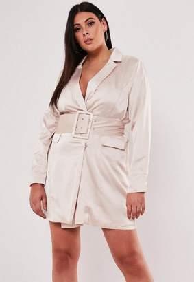 Missguided Plus Size Pink Satin Belted Blazer Dress