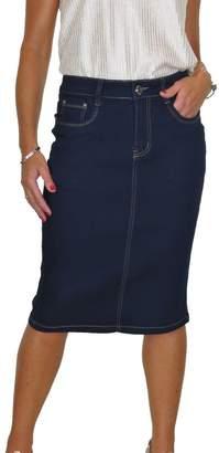 Ice Stretch Denim Jeans Skirt Smooth Soft Wash 8-18