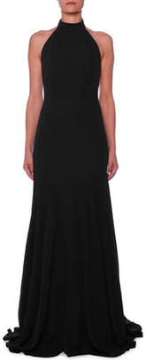 Stella McCartney Halter Open-Back A-Line Stretch-Cady Evening Gown