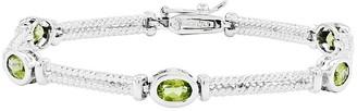"""Sterling 7"""" Choice of Oval Bezel Set Gemstone Station Bracelet"""