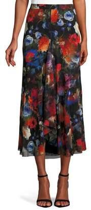 Fuzzi Long Floral-Print Tulle Godet Skirt