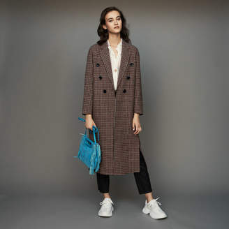 Maje Double-face wool coat in houndstooth