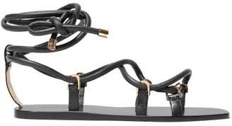 Jimmy Choo Aziza Wrap Around Leather Sandals - Womens - Black