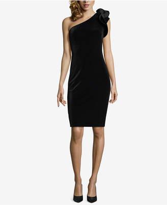 Betsy & Adam Velvet One-Shoulder Dress
