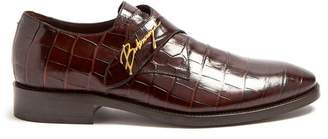 Balenciaga Crocodile Effect Leather Derby Shoes - Mens - Brown