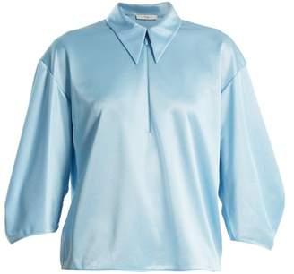 Tibi Point Collar Zip Up Satin Top - Womens - Blue