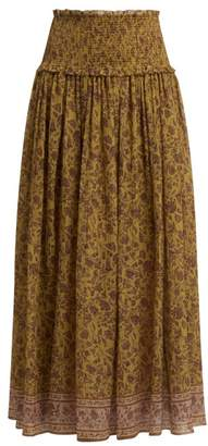 Zimmermann Juniper Cotton And Silk Blend Maxi Skirt - Womens - Gold Multi