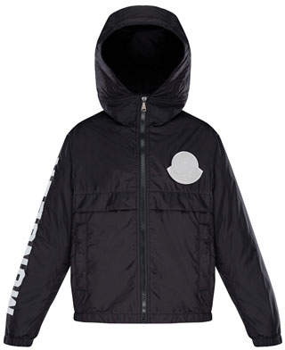 Moncler Hooded Nylon Jacket w/ Logo Sleeve, Size 4-6