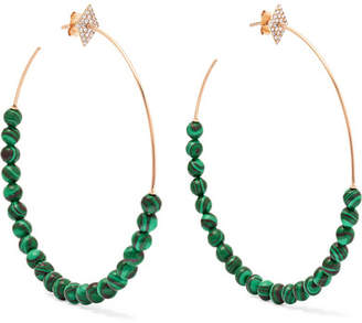 Diane Kordas 18-karat Rose Gold, Diamond And Malachite Hoop Earrings