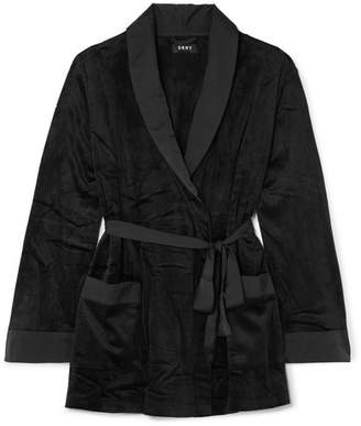 DKNY After Hours Satin-trimmed Stretch-velvet Robe - Black