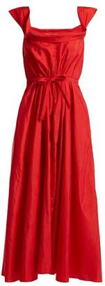 Brock Collection Davi Square Neck Taffeta Dress - Womens - Red