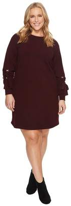 Vince Camuto Plus Size Long Tie Sleeve French Terry Dress with Grommets Women's Dress