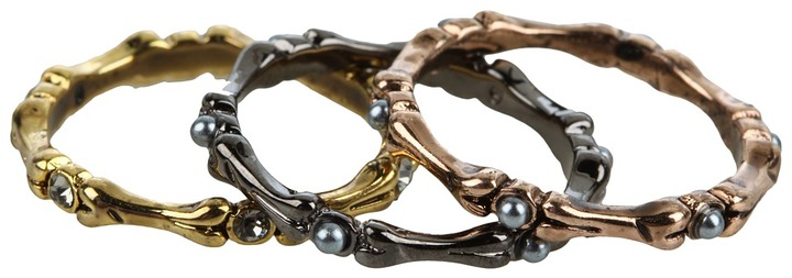 House Of Harlow Bone Stack Ring Set (14K Yellow Gold Plated) - Jewelry
