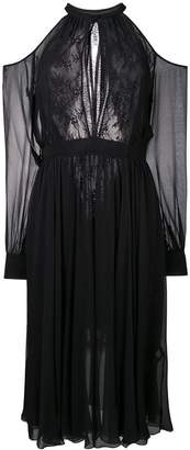 Ermanno Ermanno sheer lace cold shoulder dress