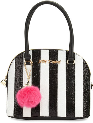 Betsey Johnson Candy Cane Striped Dome Satchel Bag, Black/White $95 thestylecure.com