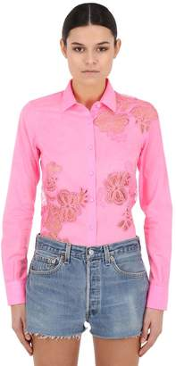 Ermanno Scervino Lace Cotton Poplin Shirt