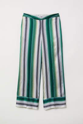 H&M Striped Silk Pants - Green