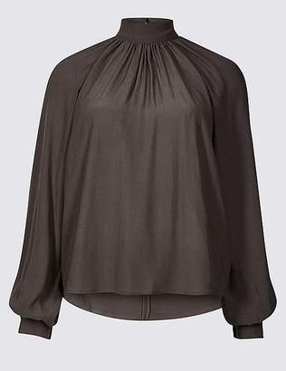 Marks and Spencer Funnel Neck Long Sleeve Blouse