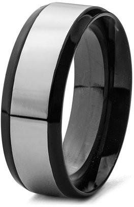 West Coast Jewelry Black Plated Stainless Steel Brushed and Polished Ring (8mm)