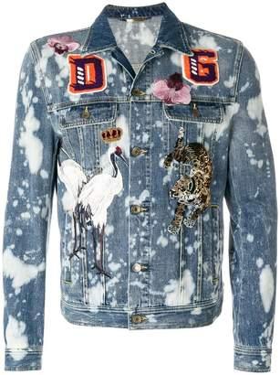 Dolce & Gabbana bleached denim jacket with patch appliqués