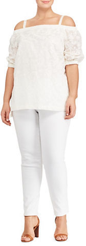Lauren Ralph Lauren Lauren Ralph Lauren Plus Textured Off-The-Shoulder Cotton-Blend Top