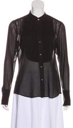 Theory Pleated Button-Up Top
