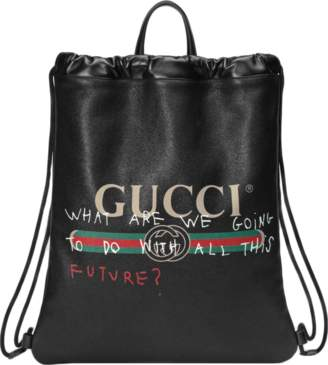 Gucci Coco Capitan Logo Backpack, Drawstring Web Detail Black/Red/Green