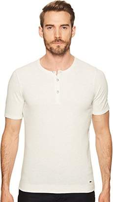 HUGO BOSS BOSS Orange Men's Short Sleeve Cotton Waffle Henley