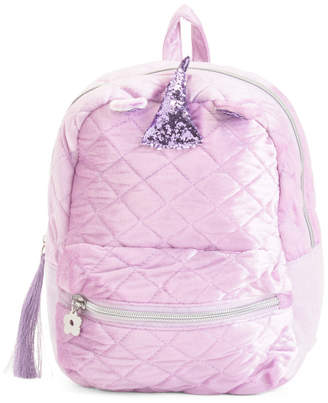 Limited Too Quilted Velvet Mini Unicorn Backpack