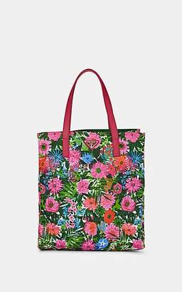 91cfab8333bc Prada WOMEN'S LEATHER-TRIMMED FLORAL SHOPPING TOTE BAG - PINK DIS.  PRIMULE/PINK