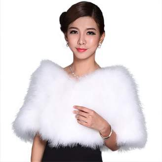 MINGCHUAN Real Ostrich Feather Fur Stole Cape Women's Fluffy Wrap Shawl for Shows, Birthday, Wedding (Regular)