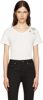 Saint Laurent White Embroidered Stars T-Shirt $690 thestylecure.com
