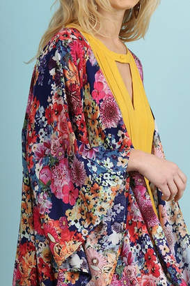 Umgee USA Navy Floral Kimono