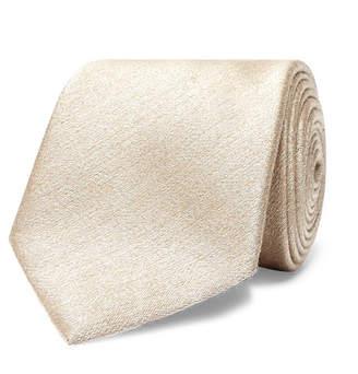 Brioni 8cm Slub Silk and Wool-Blend Tie - Men - Cream