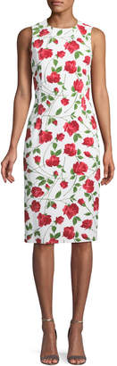 Michael Kors Sleeveless Stemmed-Rose Print Stretch-Cady Sheath Dress
