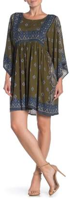 Angie Paisley Print Kimono Sleeve Mini Dress