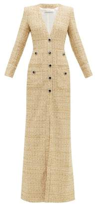 Alessandra Rich Front Slit Sequinned Boucle Tweed Dress - Womens - Light Gold