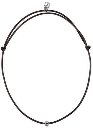 Uno de 50 Hanging Mini Skull Pendant Leather Necklace