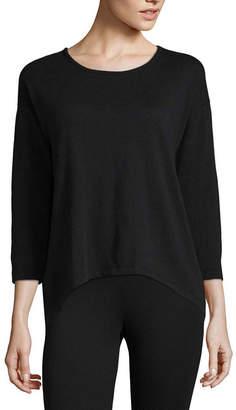 Liz Claiborne 3/4 Sleeve Back Twist T-Shirt-Womens