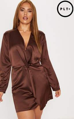 PrettyLittleThing Plus Chocolate Brown Satin Long Sleeve Wrap Dress