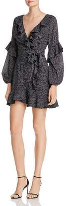 Finders Keepers Dot-Print Ruffle-Trim Dress